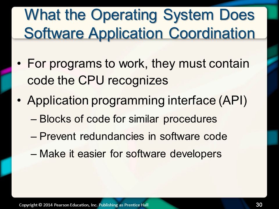 What the Operating System Does Software Application Coordination For programs to work, they must contain code the CPU recognizes Application programmi