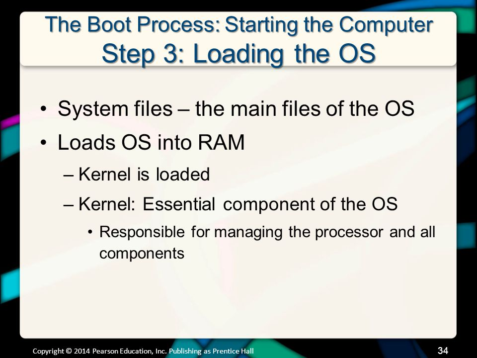 The Boot Process: Starting the Computer Step 3: Loading the OS System files – the main files of the OS Loads OS into RAM –Kernel is loaded –Kernel: Es