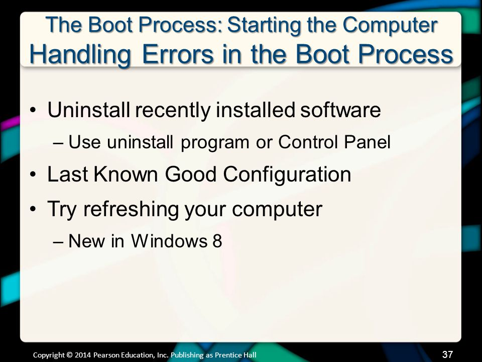 The Boot Process: Starting the Computer Handling Errors in the Boot Process Uninstall recently installed software –Use uninstall program or Control Pa
