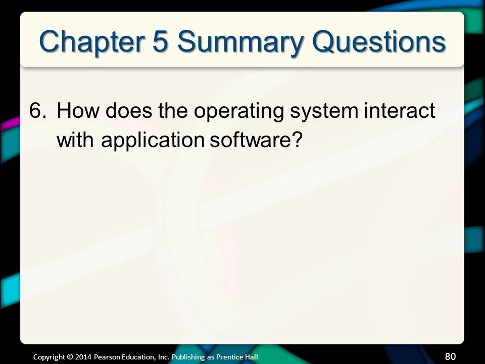 Chapter 5 Summary Questions 6.How does the operating system interact with application software.