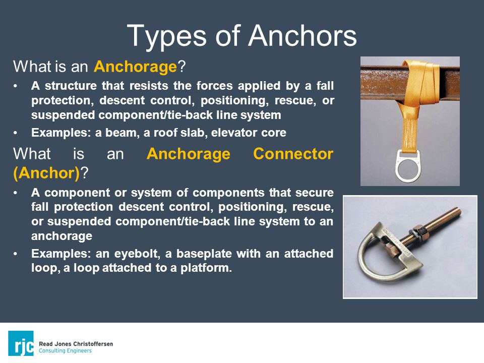 Types of Anchors What is an Anchorage.