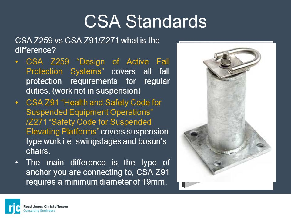 CSA Standards CSA Z259 vs CSA Z91/Z271 what is the difference.