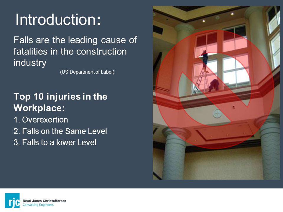 Falls are the leading cause of fatalities in the construction industry (US Department of Labor) Top 10 injuries in the Workplace: 1.
