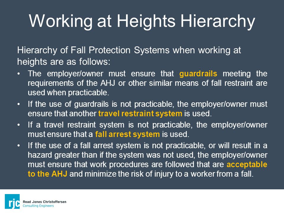 Working at Heights Hierarchy Hierarchy of Fall Protection Systems when working at heights are as follows: The employer/owner must ensure that guardrails meeting the requirements of the AHJ or other similar means of fall restraint are used when practicable.