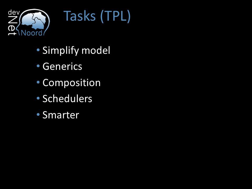 Tasks (TPL) Simplify model Generics Composition Schedulers Smarter