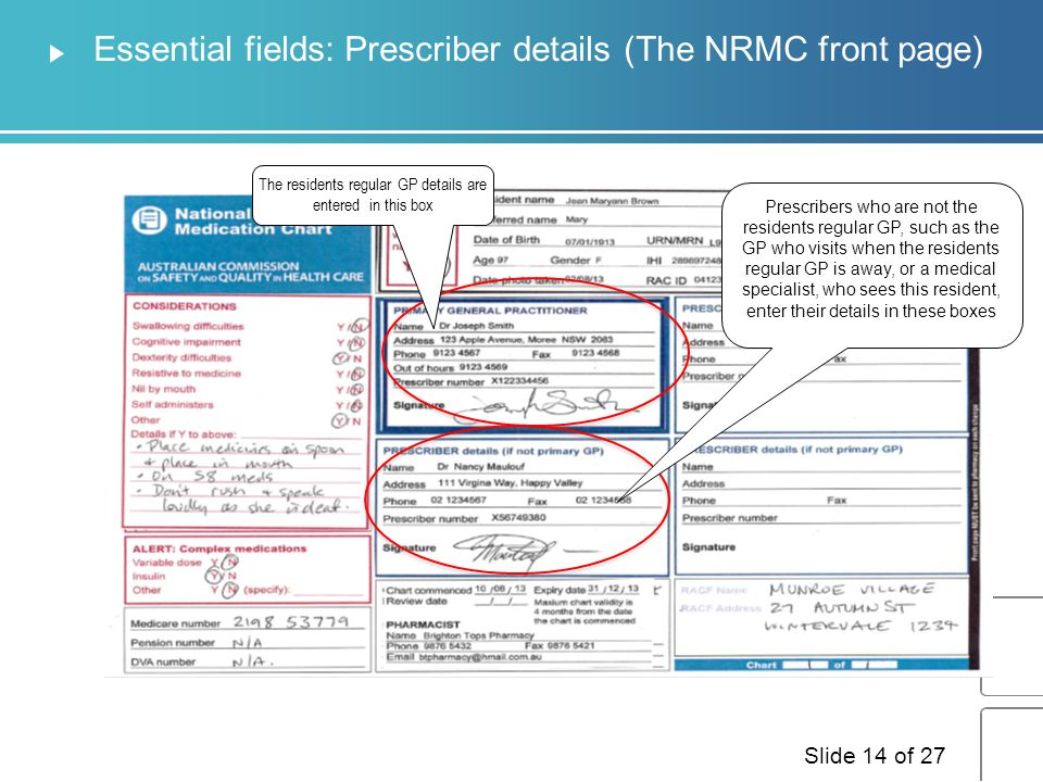 Essential fields: Resident details These fields MUST be completed for the NRMC to be a valid prescription.