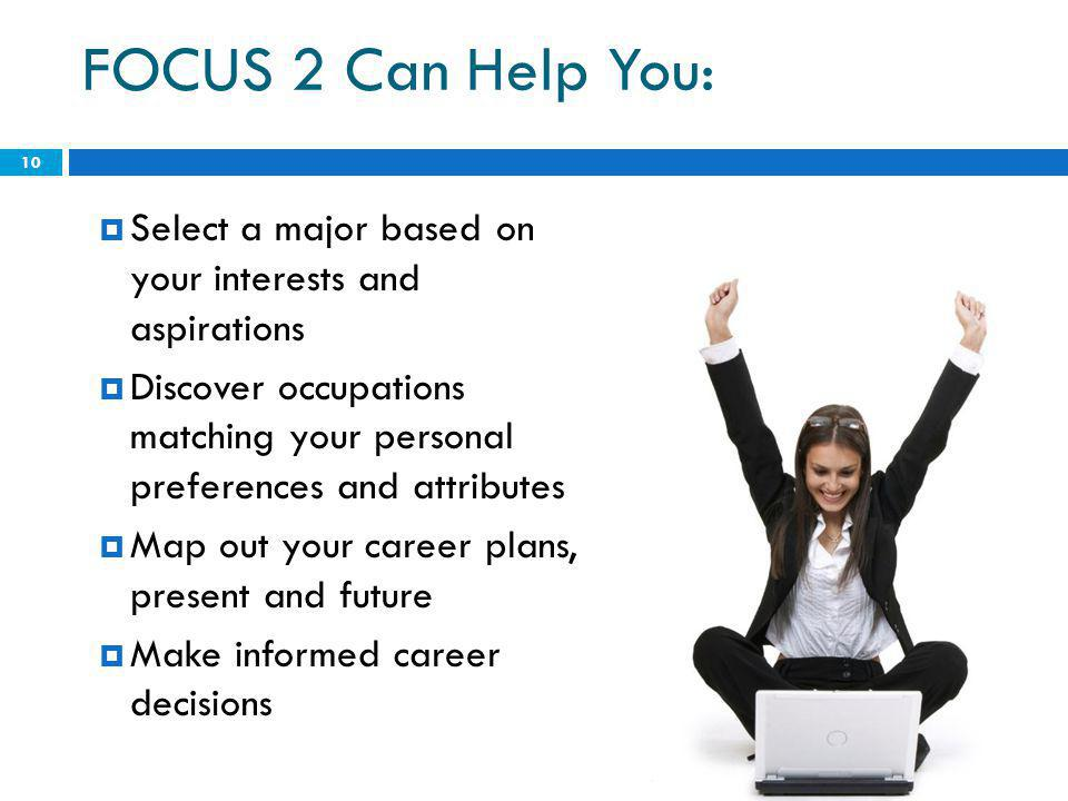 FOCUS 2 Can Help You:  Select a major based on your interests and aspirations  Discover occupations matching your personal preferences and attributes  Map out your career plans, present and future  Make informed career decisions 10