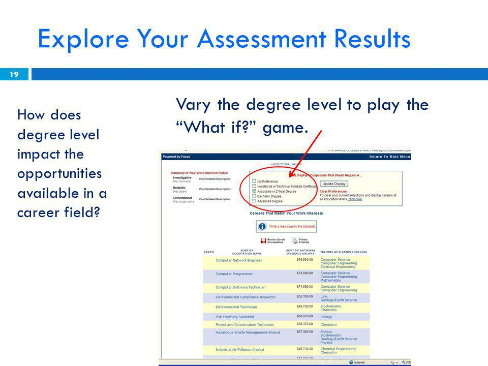 Explore Your Assessment Results Vary the degree level to play the What if game.