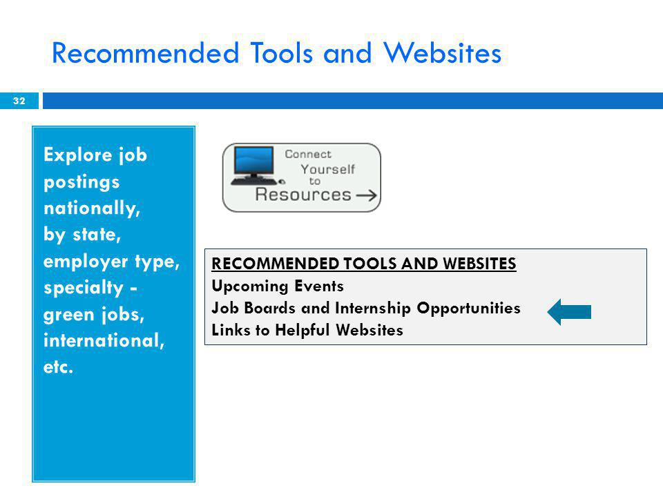 Recommended Tools and Websites 32 Explore job postings nationally, by state, employer type, specialty - green jobs, international, etc.