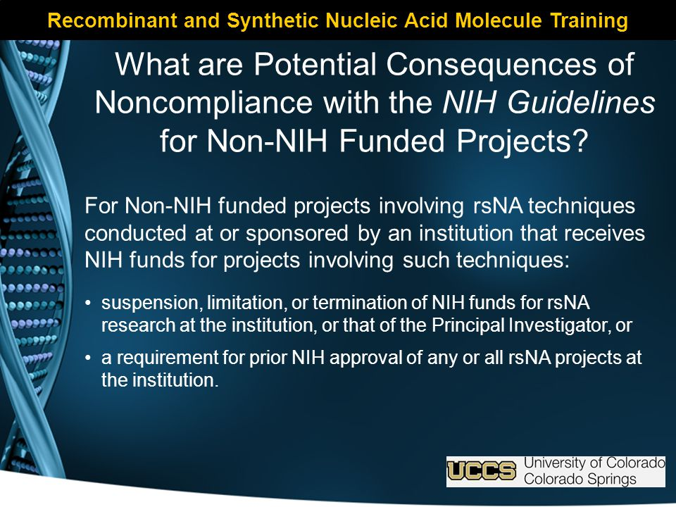 Recombinant and Synthetic Nucleic Acid Molecule Training What are Potential Consequences of Noncompliance with the NIH Guidelines for Non-NIH Funded Projects.