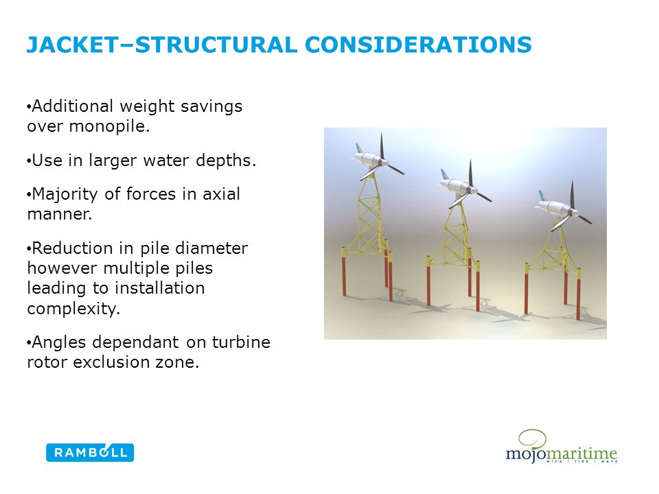 JACKET–STRUCTURAL CONSIDERATIONS Content slide, two columns with image Additional weight savings over monopile.