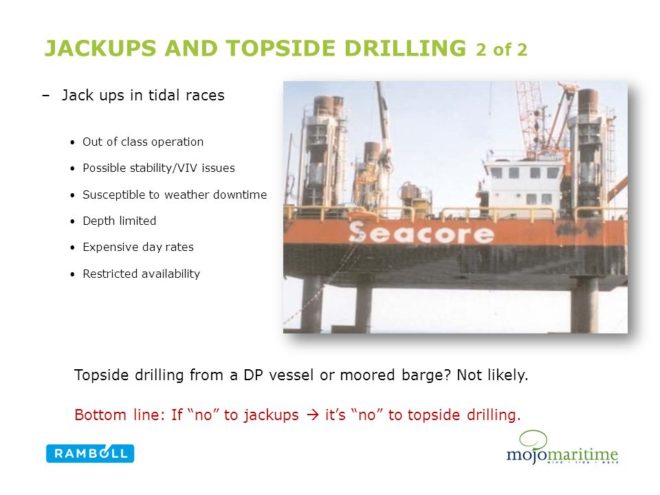 JACKUPS AND TOPSIDE DRILLING 2 of 2 Content slide, two columns with image –Jack ups in tidal races Out of class operation Possible stability/VIV issues Susceptible to weather downtime Depth limited Expensive day rates Restricted availability Topside drilling from a DP vessel or moored barge.