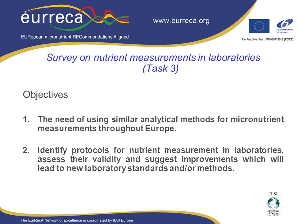 Presentation title Presentation subhead Survey on nutrient measurements in laboratories (Task 3) Objectives 1.The need of using similar analytical methods for micronutrient measurements throughout Europe.
