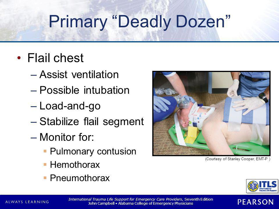 """International Trauma Life Support for Emergency Care Providers, Seventh Edition John Campbell Alabama College of Emergency Physicians Primary """"Deadly"""