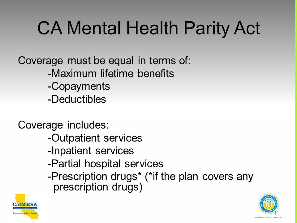 CA Mental Health Parity Act Coverage must be equal in terms of: -Maximum lifetime benefits -Copayments -Deductibles Coverage includes: -Outpatient services -Inpatient services -Partial hospital services -Prescription drugs* (*if the plan covers any prescription drugs) 11