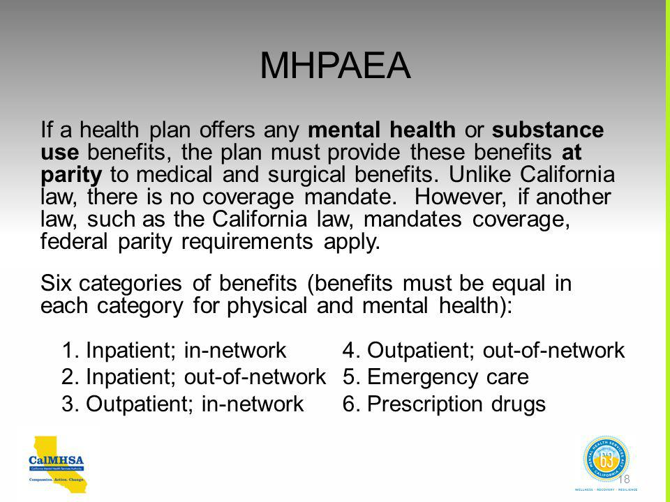 If a health plan offers any mental health or substance use benefits, the plan must provide these benefits at parity to medical and surgical benefits.
