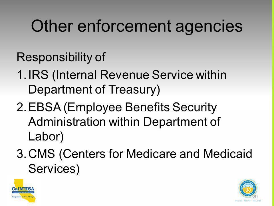Other enforcement agencies Responsibility of 1.IRS (Internal Revenue Service within Department of Treasury) 2.EBSA (Employee Benefits Security Administration within Department of Labor) 3.CMS (Centers for Medicare and Medicaid Services) 29