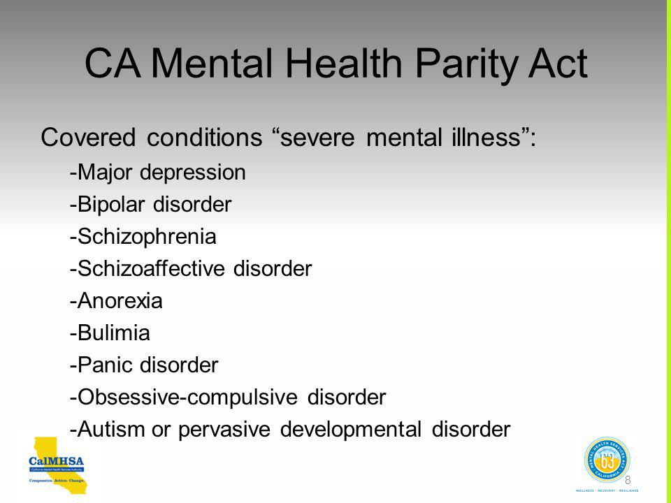 CA Mental Health Parity Act Covered conditions severe mental illness : -Major depression -Bipolar disorder -Schizophrenia -Schizoaffective disorder -Anorexia -Bulimia -Panic disorder -Obsessive-compulsive disorder -Autism or pervasive developmental disorder 8