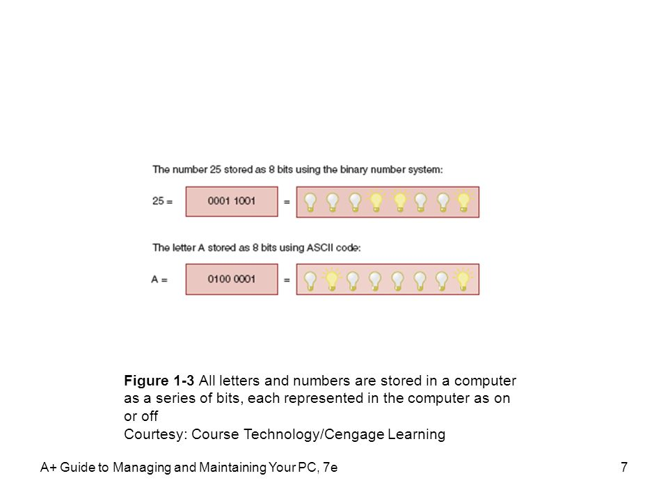 7 Figure 1-3 All letters and numbers are stored in a computer as a series of bits, each represented in the computer as on or off Courtesy: Course Technology/Cengage Learning