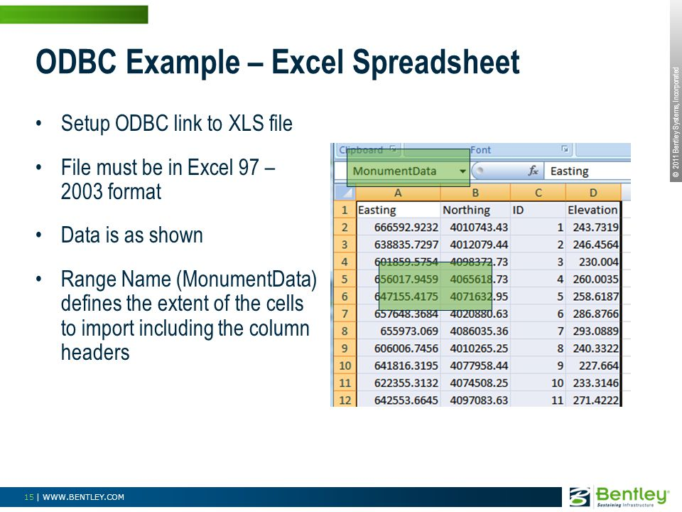 © 2011 Bentley Systems, Incorporated 15 | WWW.BENTLEY.COM ODBC Example – Excel Spreadsheet Setup ODBC link to XLS file File must be in Excel 97 – 2003 format Data is as shown Range Name (MonumentData) defines the extent of the cells to import including the column headers