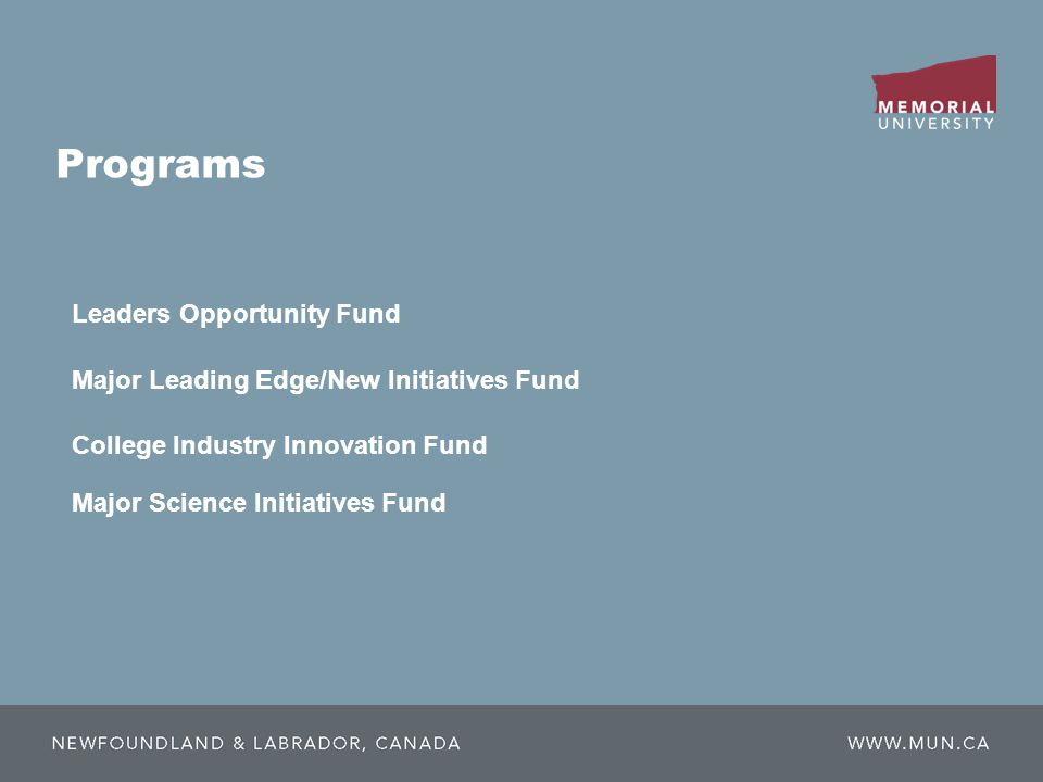 Programs College Industry Innovation Fund Leaders Opportunity Fund Major Leading Edge/New Initiatives Fund Major Science Initiatives Fund