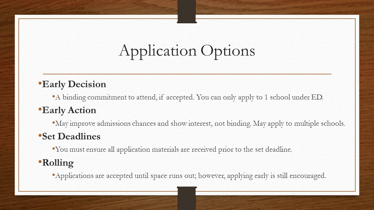 Application Options Early Decision A binding commitment to attend, if accepted.