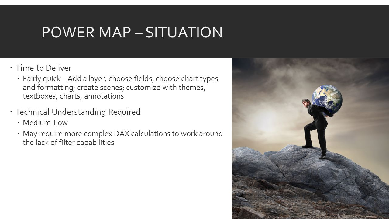 POWER MAP – SITUATION  Time to Deliver  Fairly quick – Add a layer, choose fields, choose chart types and formatting; create scenes; customize with themes, textboxes, charts, annotations  Technical Understanding Required  Medium-Low  May require more complex DAX calculations to work around the lack of filter capabilities