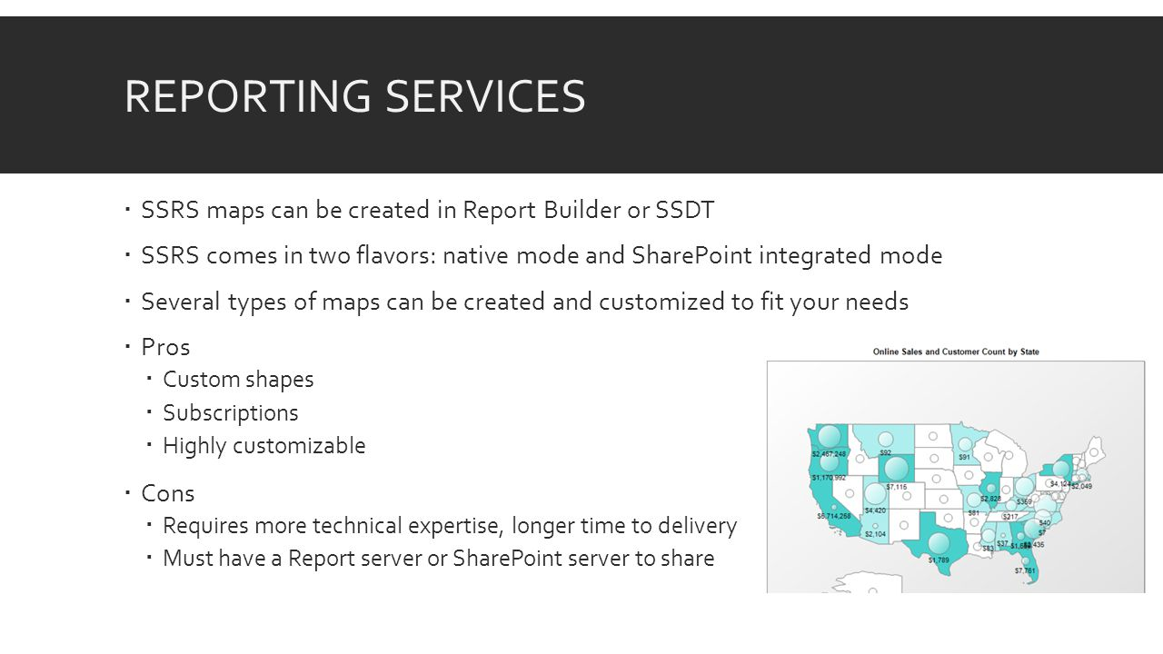 REPORTING SERVICES  SSRS maps can be created in Report Builder or SSDT  SSRS comes in two flavors: native mode and SharePoint integrated mode  Several types of maps can be created and customized to fit your needs  Pros  Custom shapes  Subscriptions  Highly customizable  Cons  Requires more technical expertise, longer time to delivery  Must have a Report server or SharePoint server to share