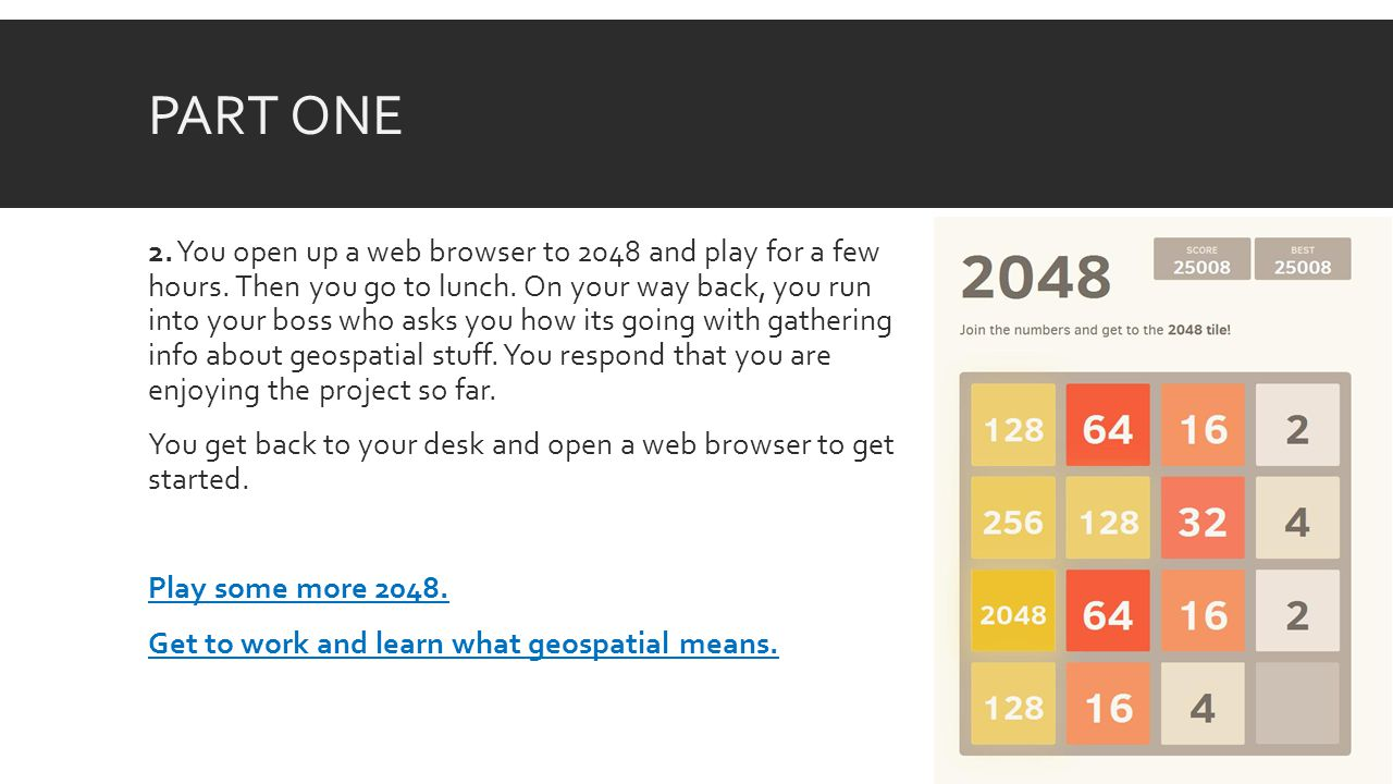 PART ONE 2. You open up a web browser to 2048 and play for a few hours.
