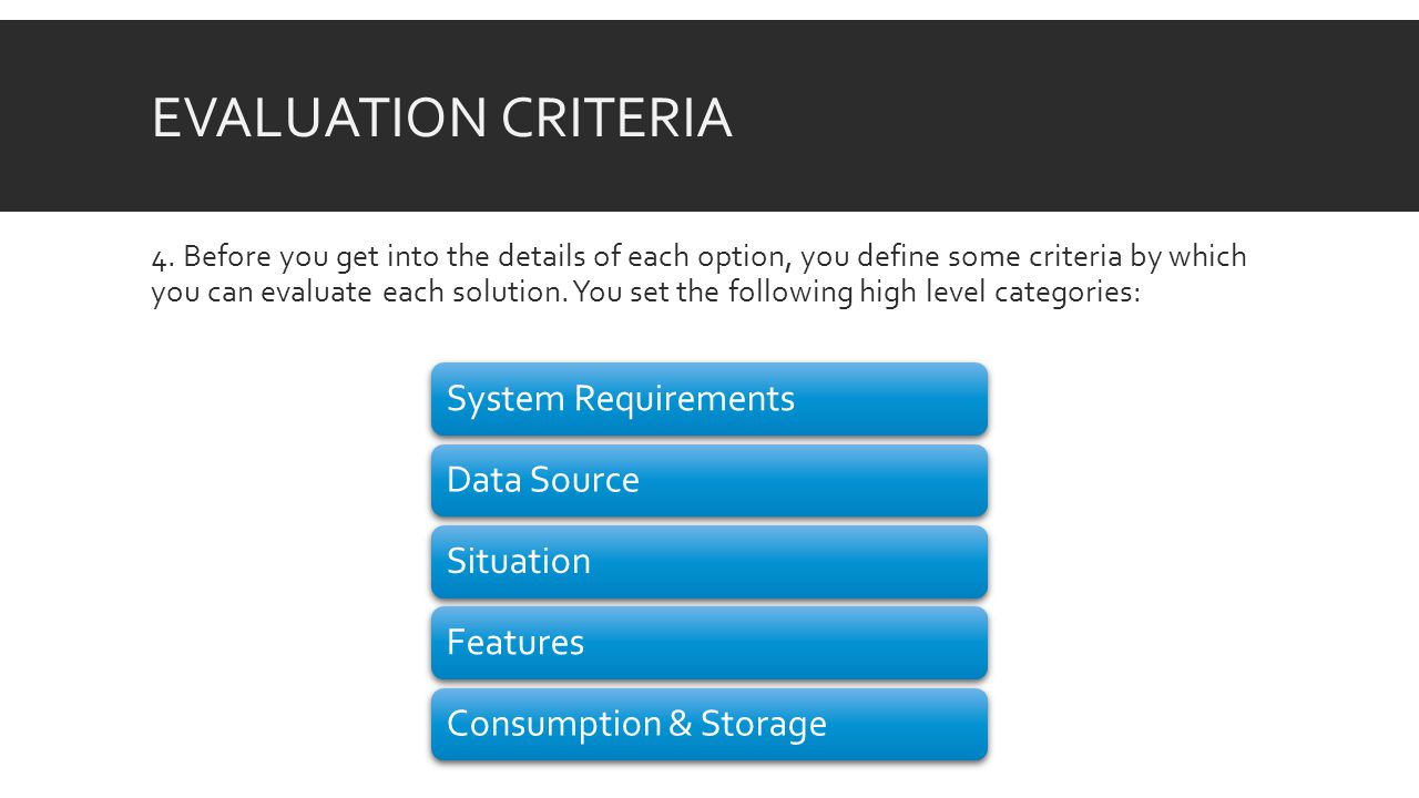 EVALUATION CRITERIA System Requirements Internet Requirements System Requirements Data sources Type of location data Data Source Required technical understanding Time to deliver Situation Type of visualization Level of customization Features Application/environment Formats Consumption & Storage