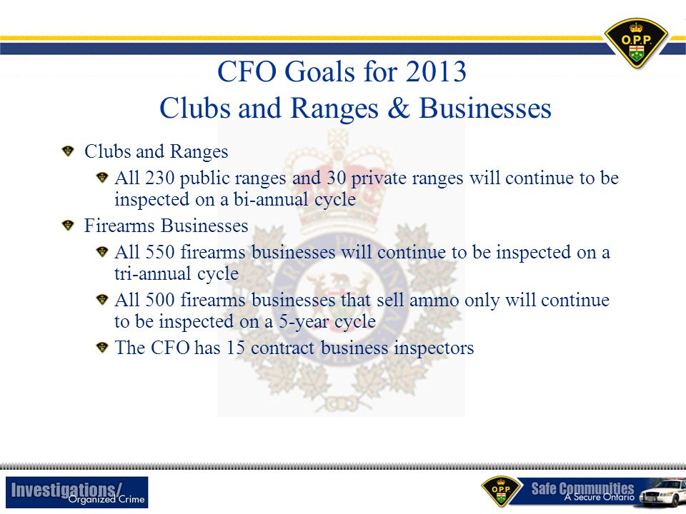 CFO Goals for 2013 Clubs and Ranges & Businesses Clubs and Ranges All 230 public ranges and 30 private ranges will continue to be inspected on a bi-an