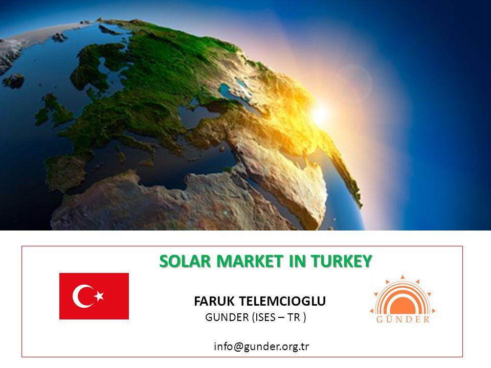 SOLAR MARKET IN TURKEY SOLAR MARKET IN TURKEY FARUK TELEMCIOGLU GUNDER (ISES – TR ) info@gunder.org.tr