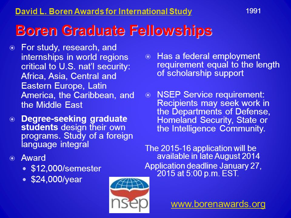  For study, research, and internships in world regions critical to U.S.
