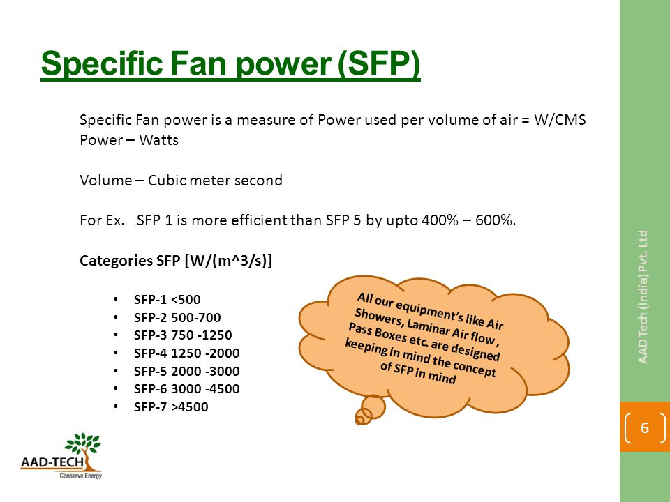Specific Fan power (SFP) Specific Fan power is a measure of Power used per volume of air = W/CMS Power – Watts Volume – Cubic meter second For Ex. SFP