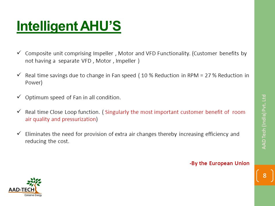 Intelligent AHU'S Composite unit comprising Impeller, Motor and VFD Functionality. (Customer benefits by not having a separate VFD, Motor, Impeller )