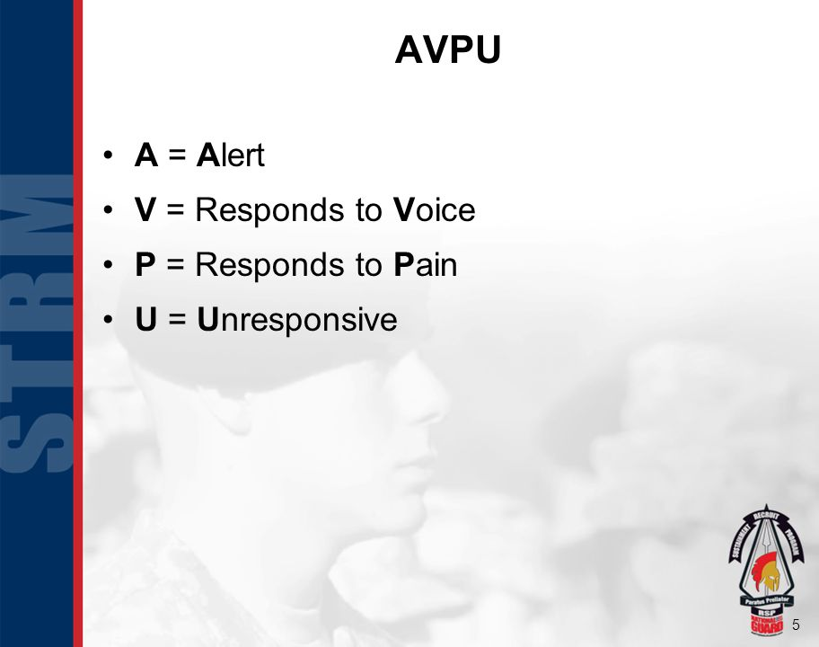 5 AVPU A = Alert V = Responds to Voice P = Responds to Pain U = Unresponsive