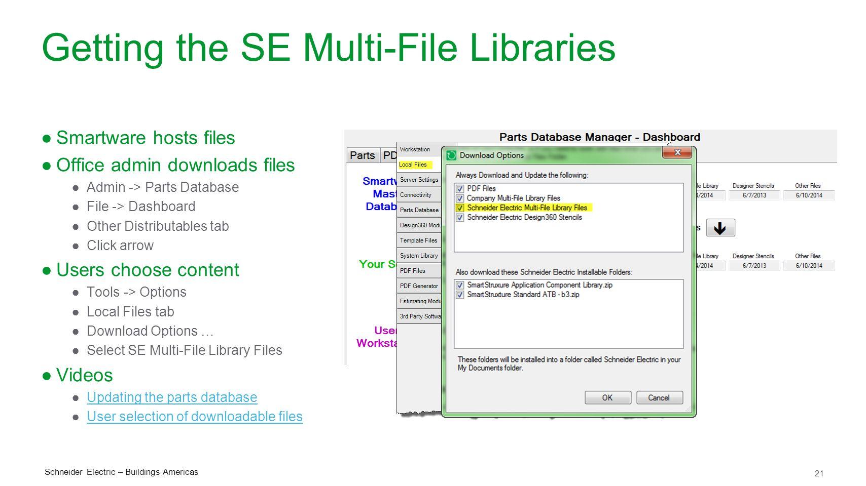 21 Schneider Electric – Buildings Americas Getting the SE Multi-File Libraries ●Smartware hosts files ●Office admin downloads files ●Admin -> Parts Da