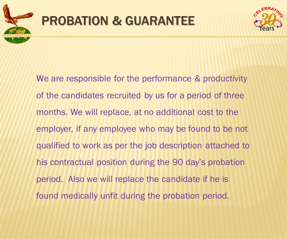 PROBATION & GUARANTEE We are responsible for the performance & productivity of the candidates recruited by us for a period of three months.