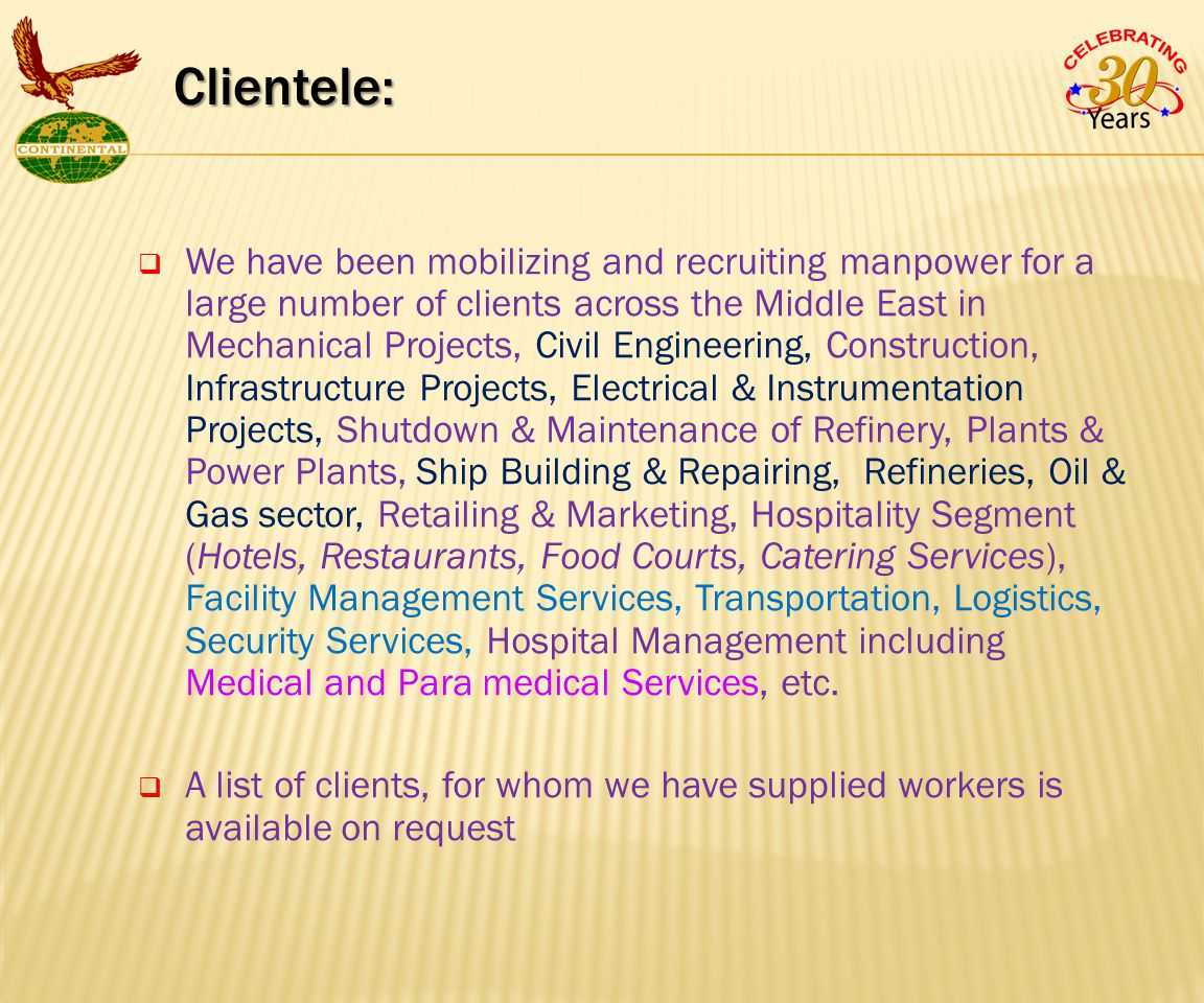  We have been mobilizing and recruiting manpower for a large number of clients across the Middle East in Mechanical Projects, Civil Engineering, Construction, Infrastructure Projects, Electrical & Instrumentation Projects, Shutdown & Maintenance of Refinery, Plants & Power Plants, Ship Building & Repairing, Refineries, Oil & Gas sector, Retailing & Marketing, Hospitality Segment (Hotels, Restaurants, Food Courts, Catering Services), Facility Management Services, Transportation, Logistics, Security Services, Hospital Management including Medical and Para medical Services, etc.