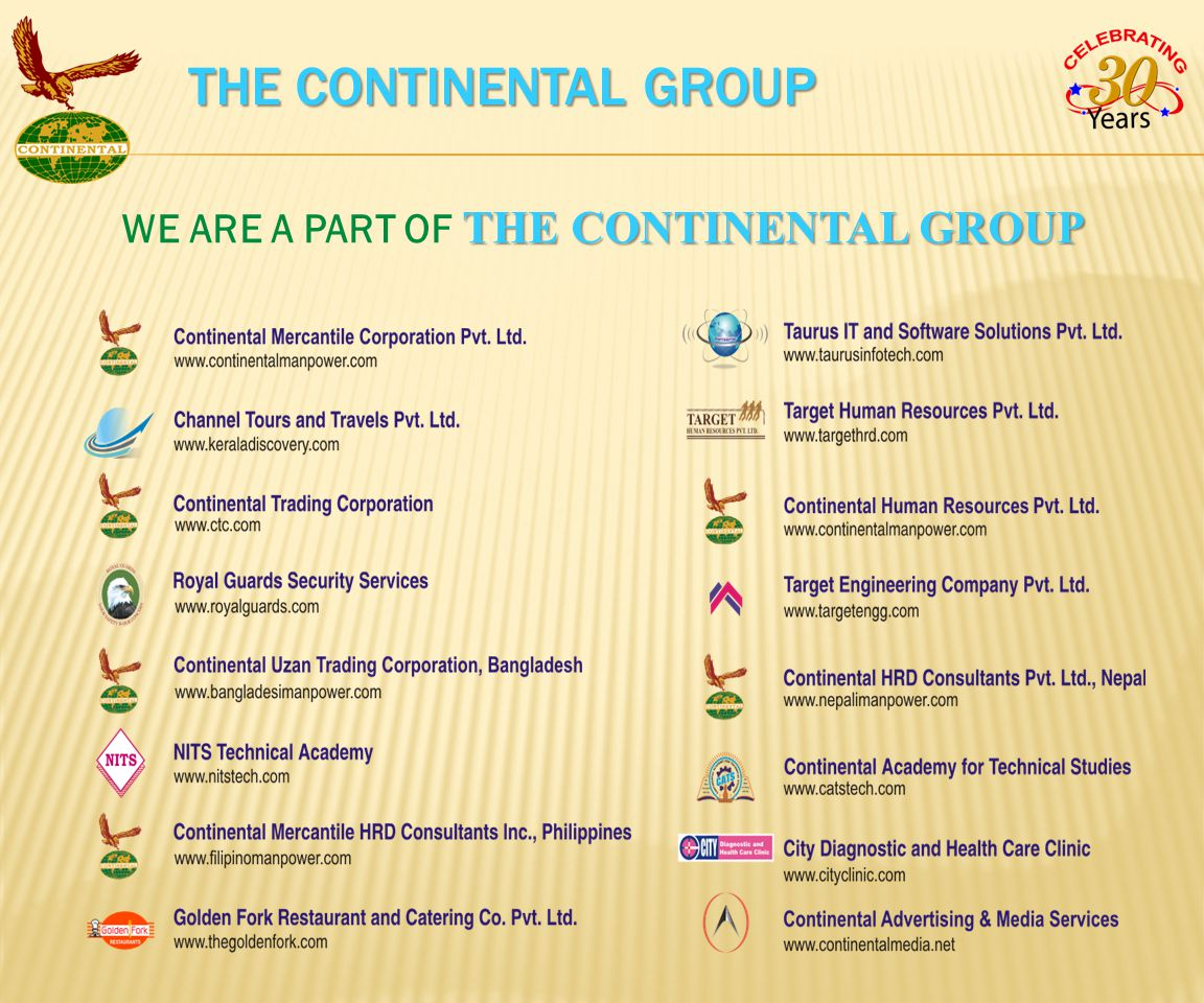 THE CONTINENTAL GROUP WE ARE A PART OF THE CONTINENTAL GROUP THE CONTINENTAL GROUP