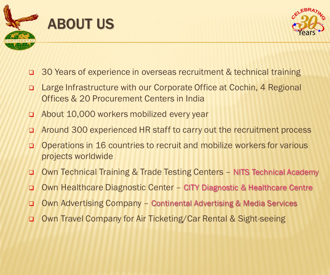  30 Years of experience in overseas recruitment & technical training  Large Infrastructure with our Corporate Office at Cochin, 4 Regional Offices & 20 Procurement Centers in India  About 10,000 workers mobilized every year  Around 300 experienced HR staff to carry out the recruitment process  Operations in 16 countries to recruit and mobilize workers for various projects worldwide NITS Technical Academy  Own Technical Training & Trade Testing Centers – NITS Technical Academy CITY Diagnostic & Healthcare Centre  Own Healthcare Diagnostic Center – CITY Diagnostic & Healthcare Centre Continental Advertising & Media Services  Own Advertising Company – Continental Advertising & Media Services  Own Travel Company for Air Ticketing/Car Rental & Sight-seeing ABOUT US