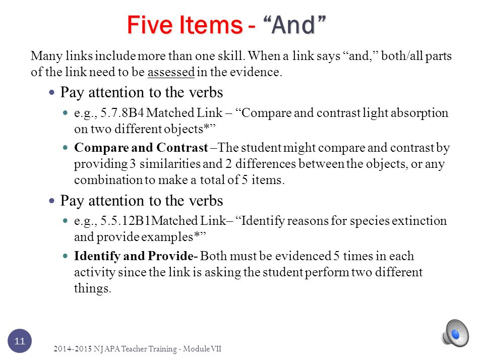 10 Rule 5: Five Items The Five Items Resource found within the Content Guide and Five Items Resource document was created to provide teachers with exa