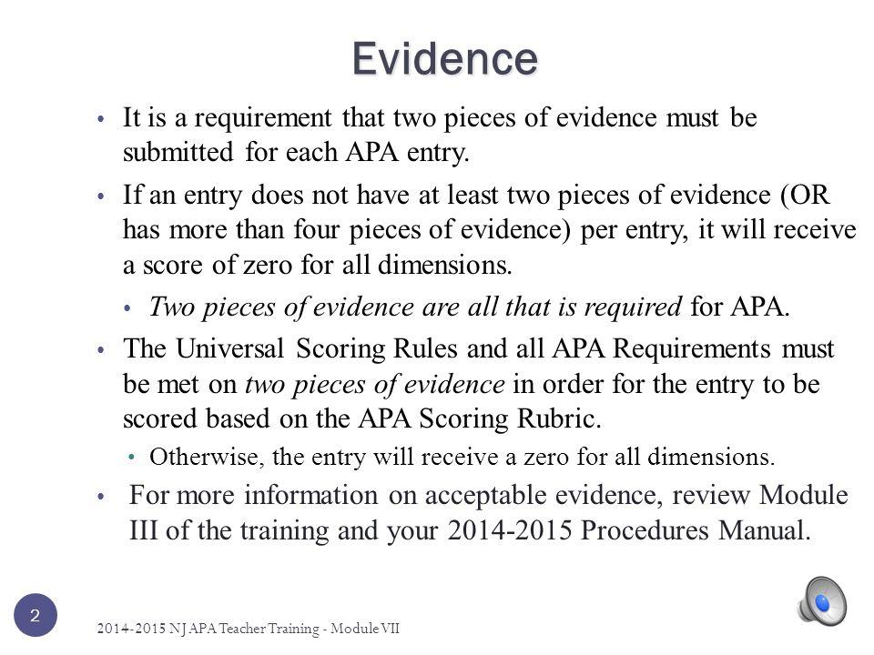 Five Items - And 12 2014-2015 NJ APA Teacher Training - Module VII This example constitutes five items.