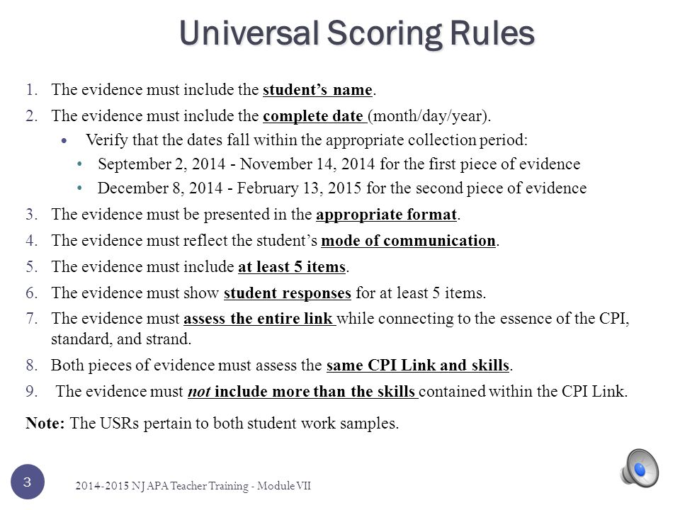 1.The evidence must include the student's name.
