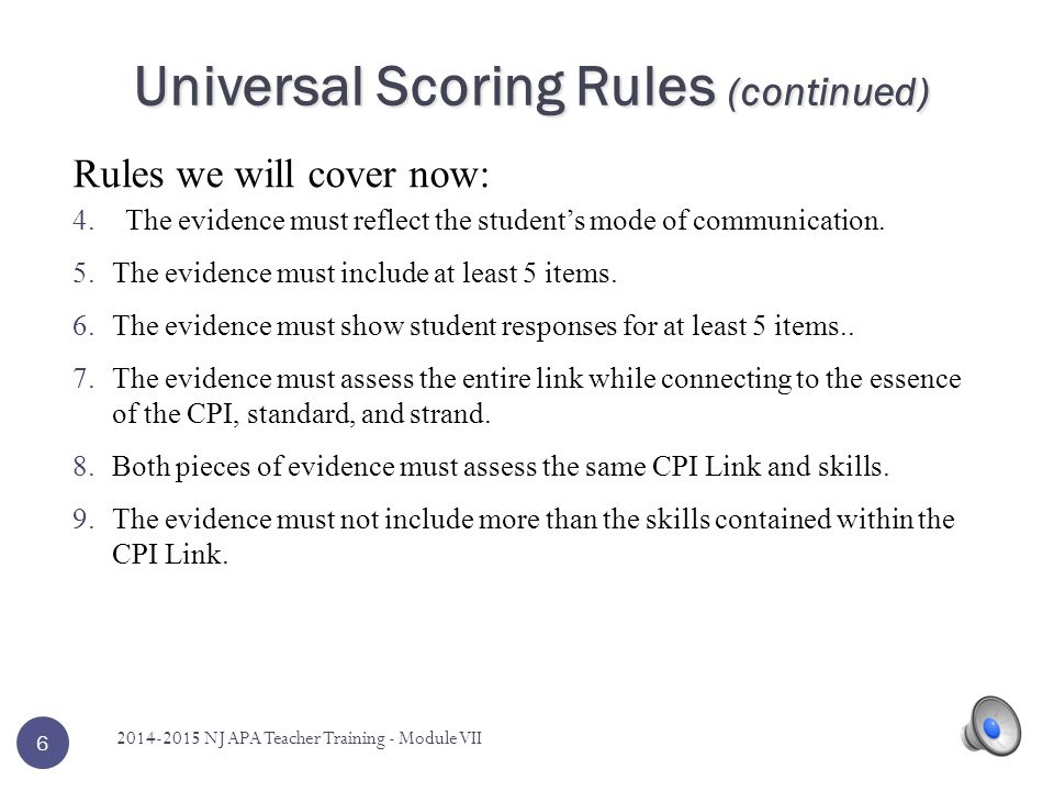 6 Rules we will cover now: Universal Scoring Rules (continued) 4.The evidence must reflect the student's mode of communication.