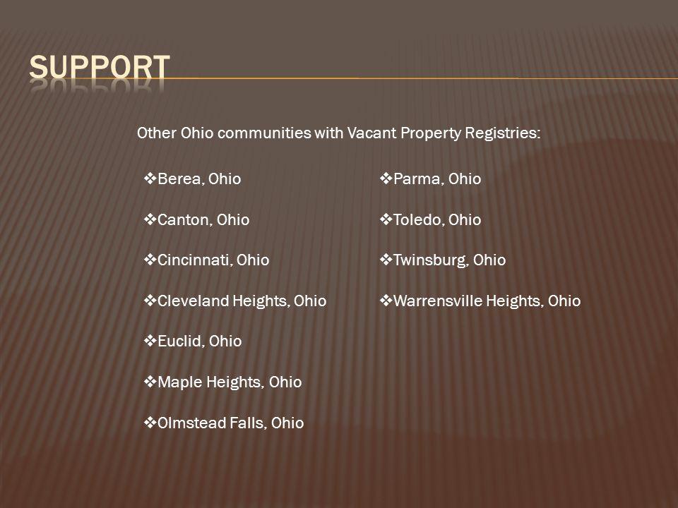  Berea, Ohio  Canton, Ohio  Cincinnati, Ohio  Cleveland Heights, Ohio  Euclid, Ohio  Maple Heights, Ohio  Olmstead Falls, Ohio  Parma, Ohio  Toledo, Ohio  Twinsburg, Ohio  Warrensville Heights, Ohio Other Ohio communities with Vacant Property Registries: