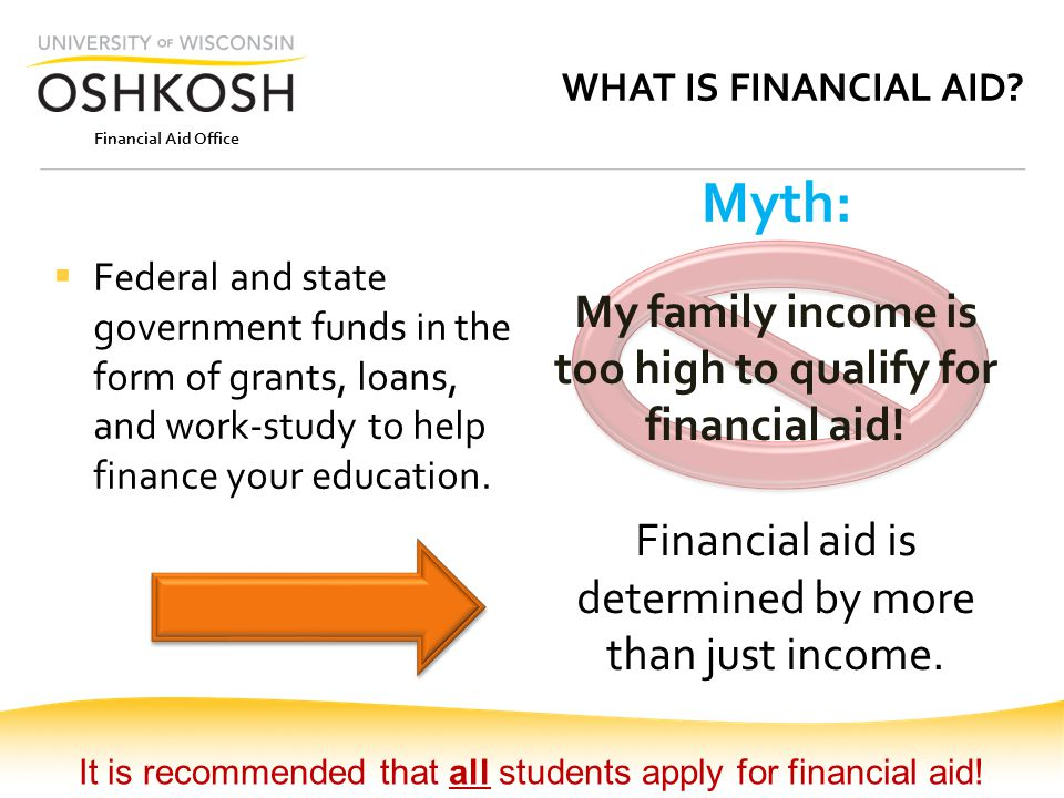 Financial Aid Office WHAT IS FINANCIAL AID?  Federal and state government funds in the form of grants, loans, and work-study to help finance your edu