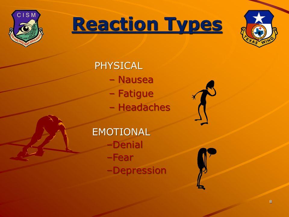 8 Reaction Types PHYSICAL –Nausea –Fatigue –Headaches EMOTIONAL –Denial –Fear –Depression