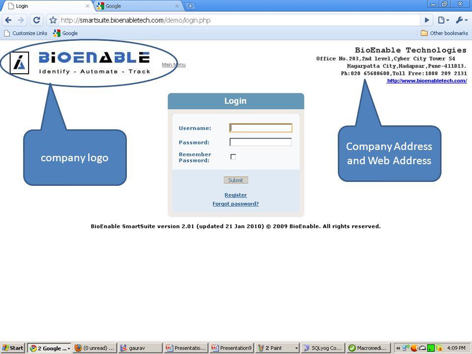 company logo Company Address and Web Address