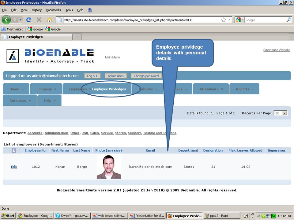 Employee privldege details with personal details